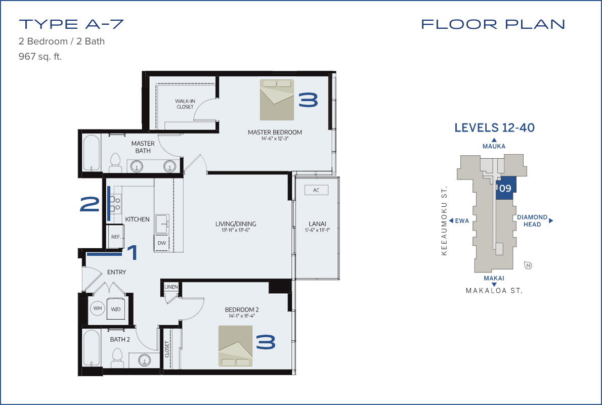 Azure Floor Plan A-11 Feng Shui Analysis - Azure Ala Moana